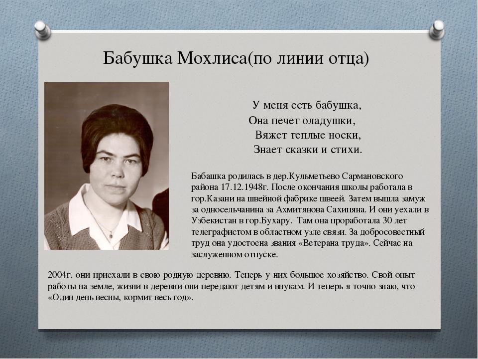 Бабушка Мохлиса(по линии отца) У меня есть бабушка, Она печет оладушки,...