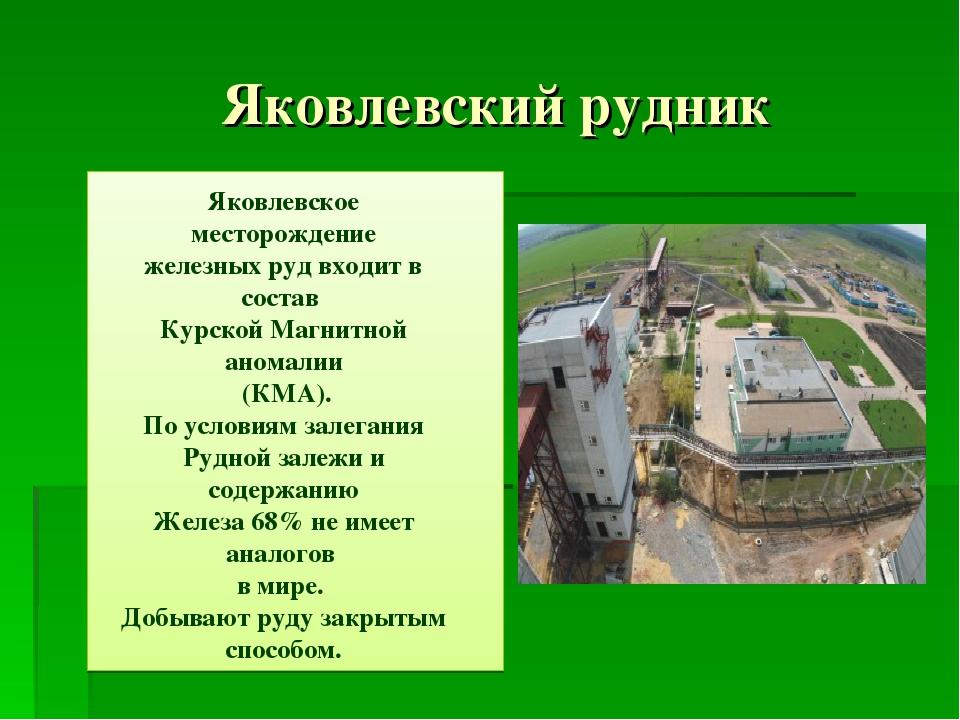 Яковлевский рудник Яковлевское месторождение железных руд входит в состав Ку...
