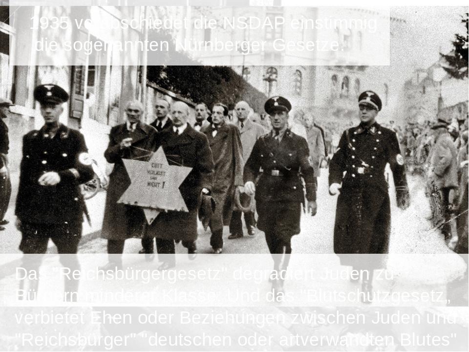 1935 verabschiedet die NSDAP einstimmig die sogenannten Nürnberger Gesetze....