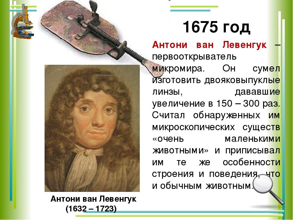 Антони ван Левенгук (1632 – 1723) 1675 год Антони ван Левенгук – первооткрыв...
