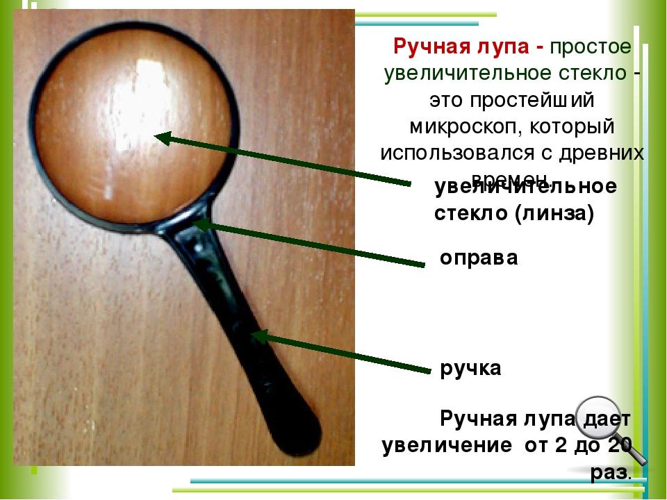 Ручная лупа - простое увеличительное стекло - это простейший микроскоп, кото...