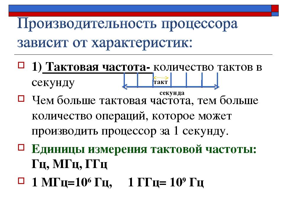 1) Тактовая частота- количество тактов в секунду Чем больше тактовая частота,...