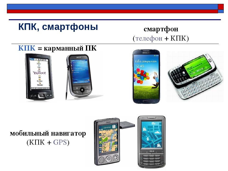 КПК, смартфоны мобильный навигатор (КПК + GPS) КПК = карманный ПК смартфон (т...