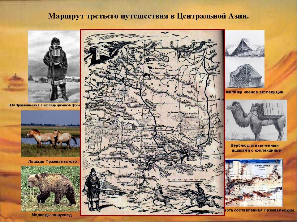 Маршрут третьего путешествия в Центральной Азии. Н.М.Пржевальский в экспедици...
