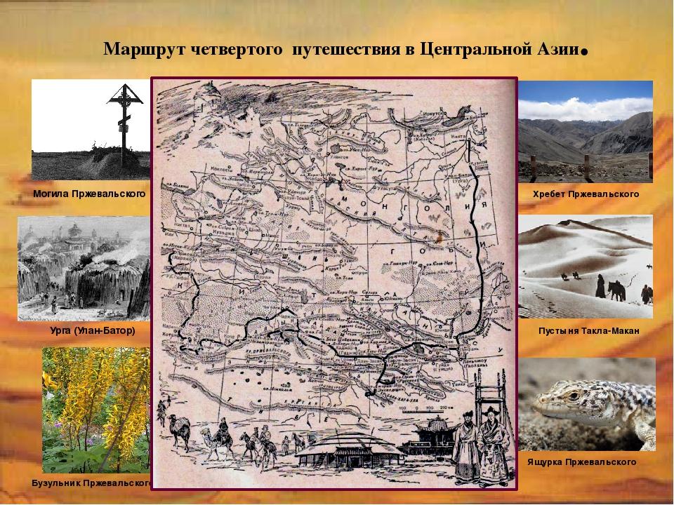 Маршрут четвертого путешествия в Центральной Азии. Могила Пржевальского Урга...