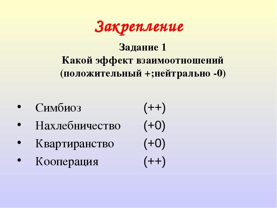 Закрепление Симбиоз Нахлебничество Квартиранство Кооперация (++) (+0) (+0) (+...
