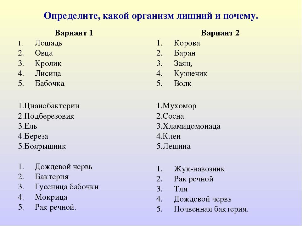 Определите, какой организм лишний и почему. Вариант 1 1. Лошадь 2. Овца 3. Кр...