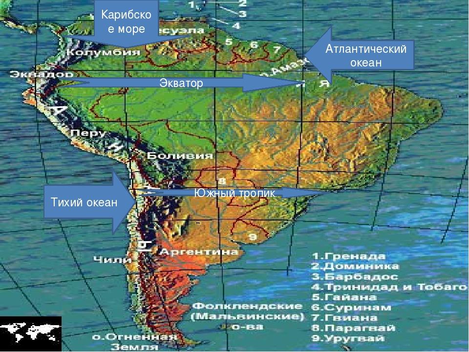 Тихий океан Атлантический океан Экватор Южный тропик Карибское море
