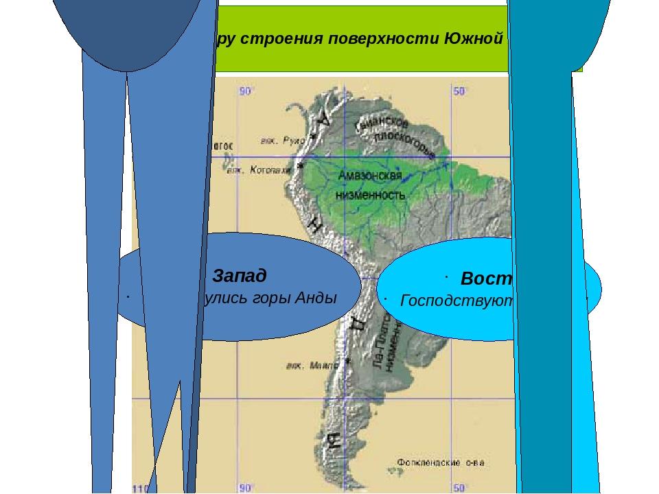 По характеру строения поверхности Южной Америки Восток Господствуют равнины...