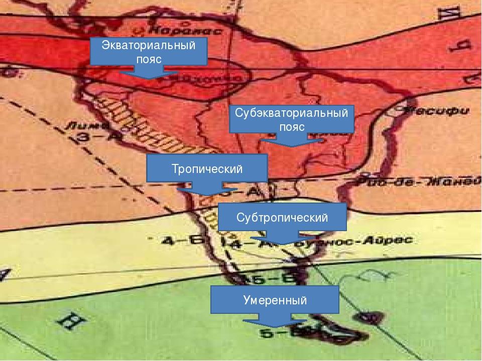 Климатические пояса Субэкваториальный пояс Экваториальный пояс Тропический Су...
