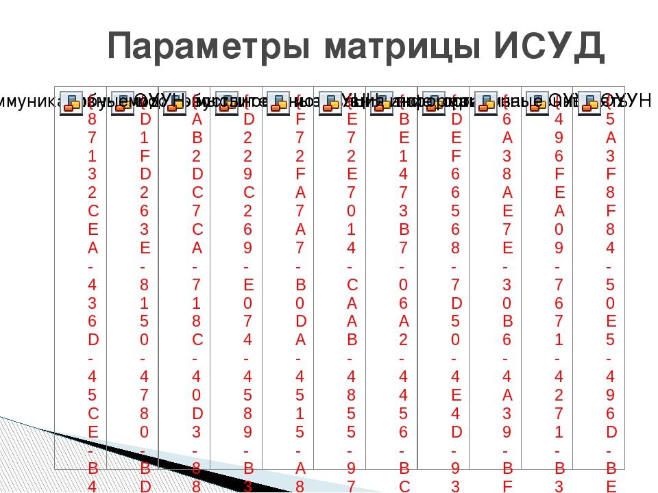 Параметры матрицы ИСУД