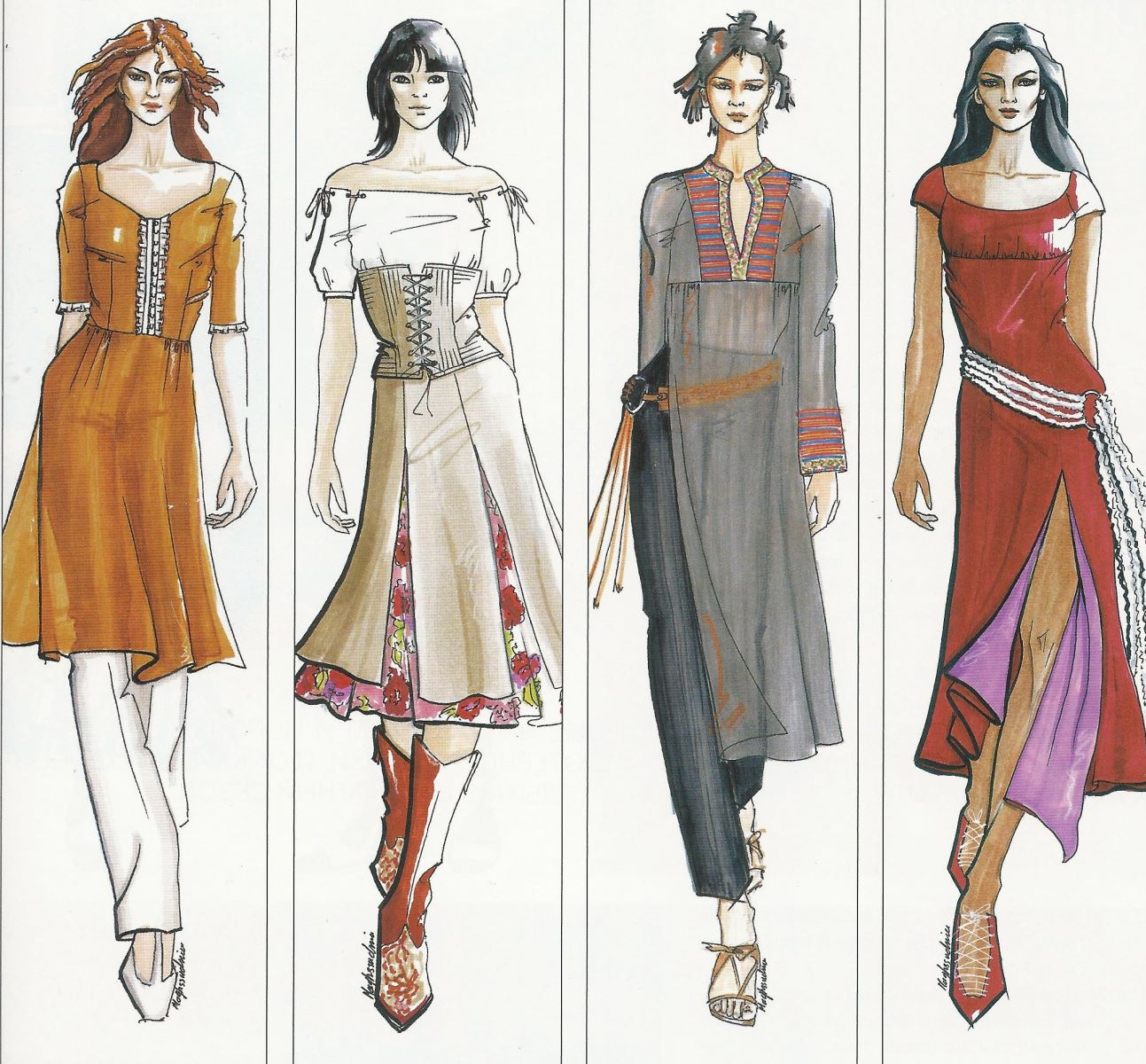 этнические костюмы рисунки хвост