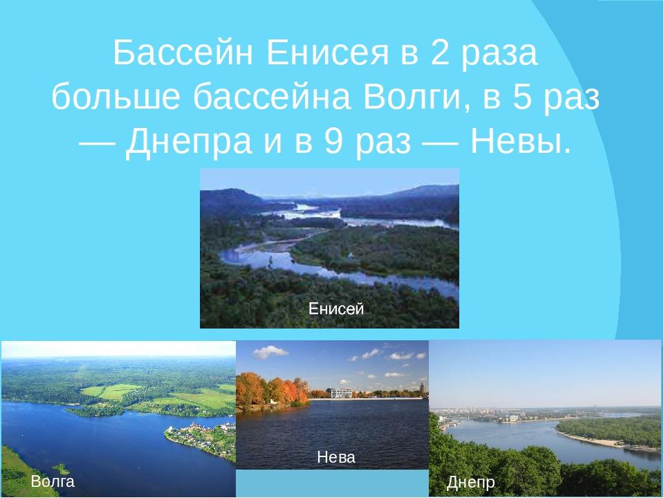 Бассейн Енисея в 2 раза больше бассейна Волги, в 5 раз — Днепра и в 9 раз — Н...