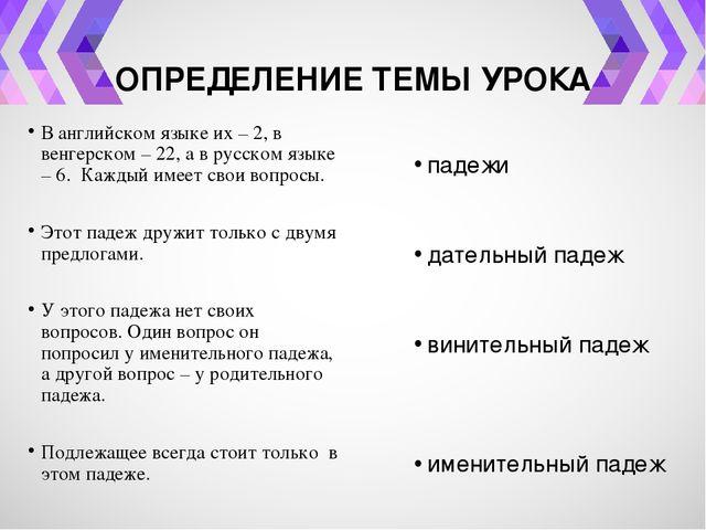ОПРЕДЕЛЕНИЕ ТЕМЫ УРОКА В английском языке их – 2, в венгерском – 22, а в русс...
