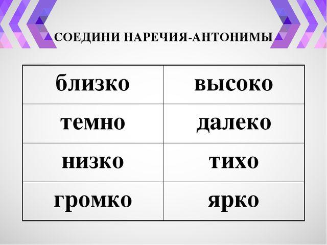 СОЕДИНИ НАРЕЧИЯ-АНТОНИМЫ