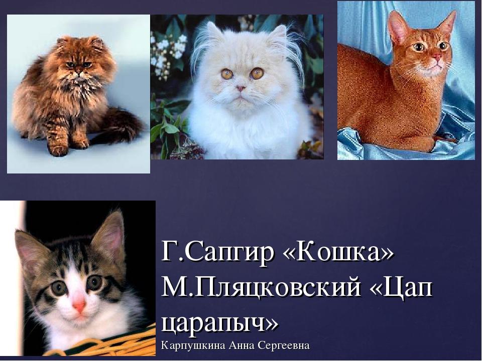 Г.Сапгир «Кошка» М.Пляцковский «Цап царапыч» Карпушкина Анна Сергеевна