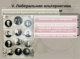 V. Либеральная альтернатива развития революции Полномочия Временного правител