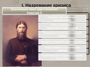 I. Назревание кризиса Важнейшие вехи царствования Николая II Стремление сохра