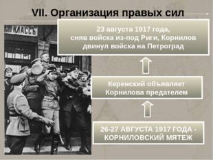 VII. Организация правых сил 23 августа 1917 года, сняв войска из-под Риги, Ко