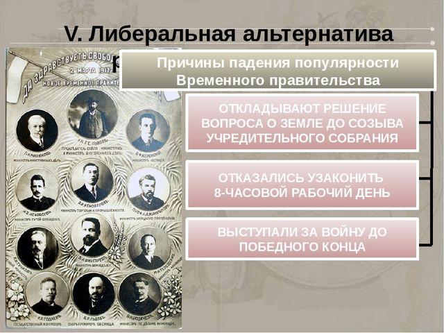 V. Либеральная альтернатива развития революции Причины падения популярности В...