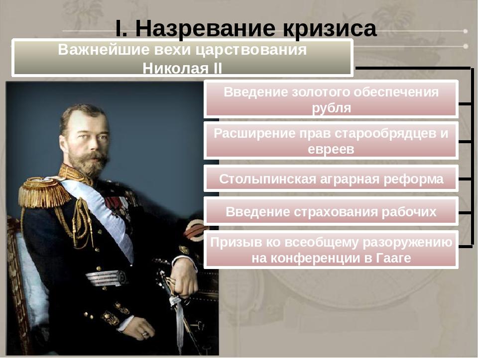 Важнейшие вехи царствования Николая II Введение золотого обеспечения рубля Ра...