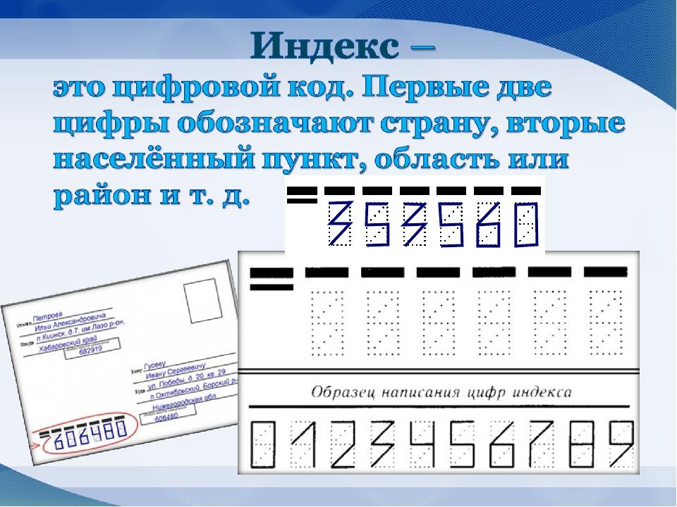 Как заполнять индекс на открытке