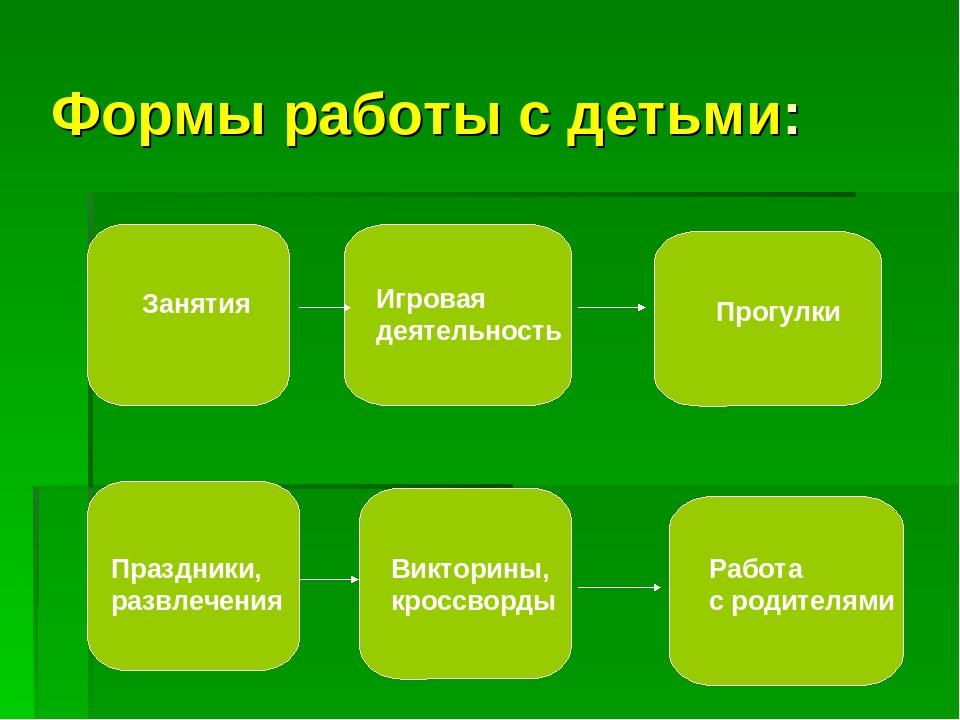 Формы работы с детьми: Занятия Игровая деятельность Прогулки Праздники, развл...
