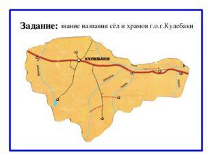 Задание: знание названия сёл и храмов г.о.г.Кулебаки