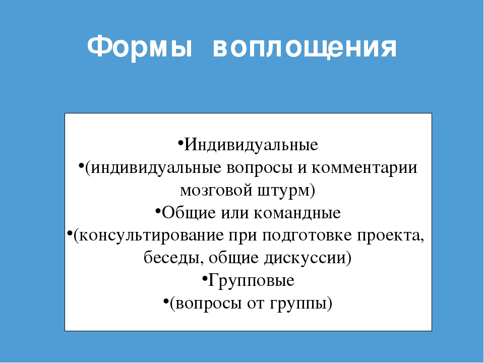 Формы воплощения Индивидуальные (индивидуальные вопросы и комментарии мозгово...