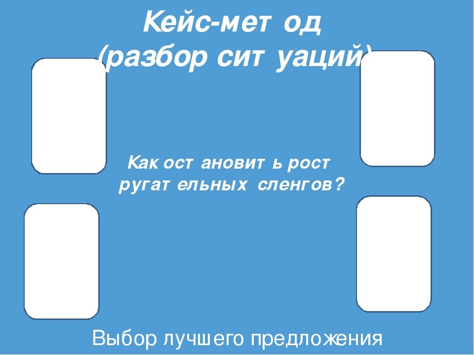 Выбор лучшего предложения Кейс-метод (разбор ситуаций) Как остановить рост ру...