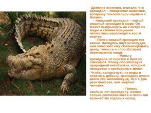 - Древние египтяне, считали, что крокодил – священное животное, которому пок