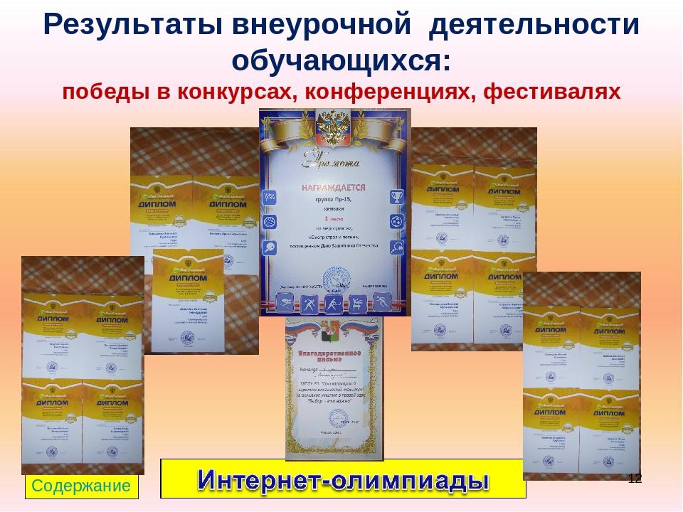 Результаты внеурочной деятельности обучающихся: победы в конкурсах, конференц...