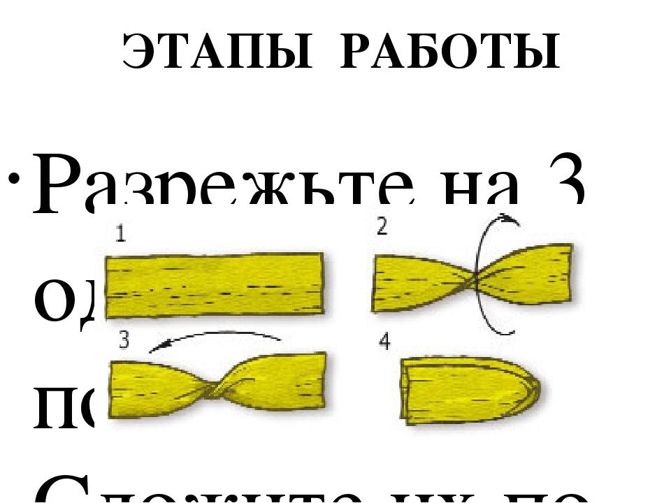 ЭТАПЫ РАБОТЫ Разрежьте на 3 одинаковые полоски. Сложите их по образцу