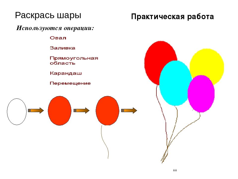 Раскрась шары Используются операции: Практическая работа
