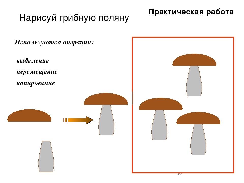 Нарисуй грибную поляну Используются операции: выделение перемещение копирова...