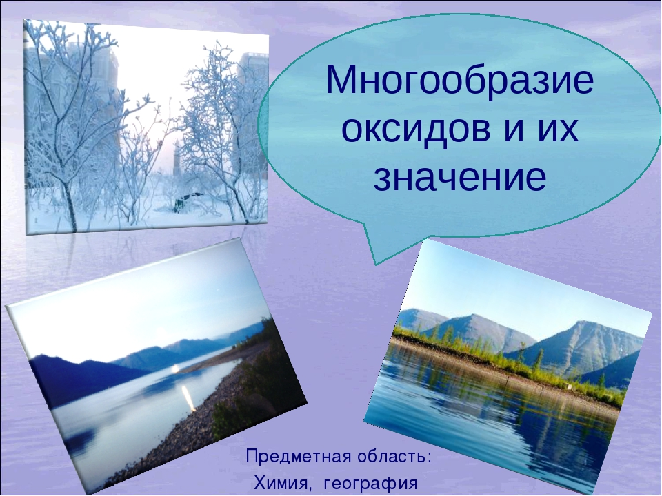 Предметная область: Химия, география Многообразие оксидов и их значение
