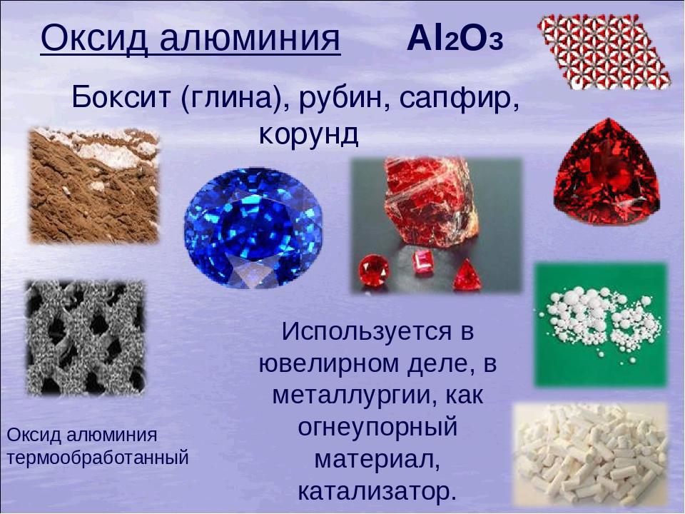 Al2O3 Боксит (глина), рубин, сапфир, корунд Используется в ювелирном деле, в...