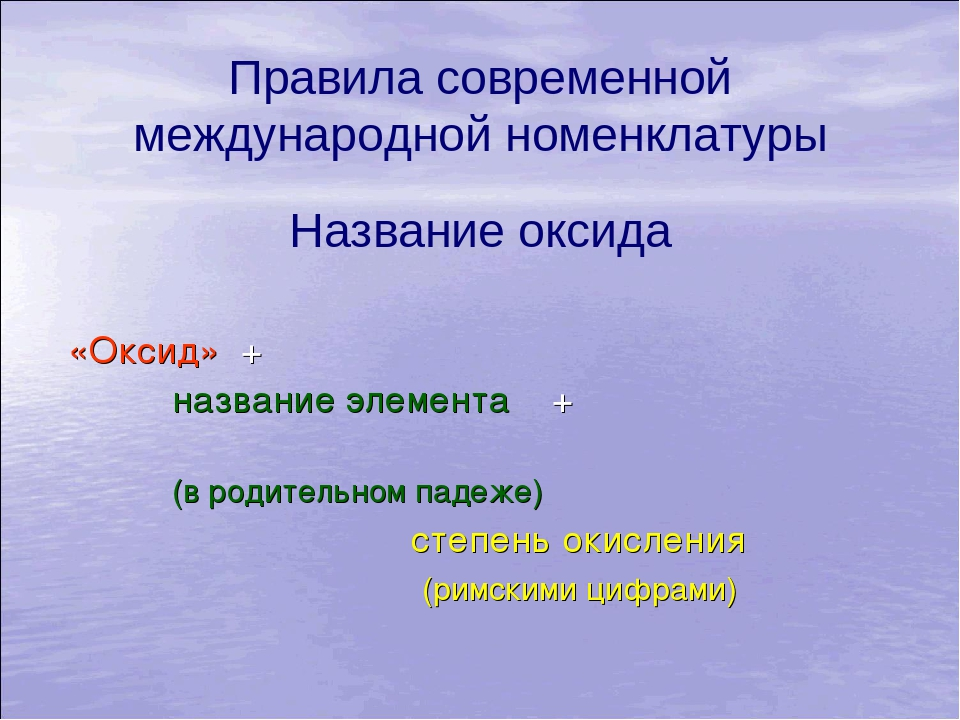 Правила современной международной номенклатуры Название оксида «Оксид» + назв...