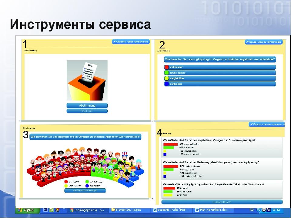 Инструменты сервиса Блокнот (Notebook) Доска объявлений Календарь Чат Голосов...