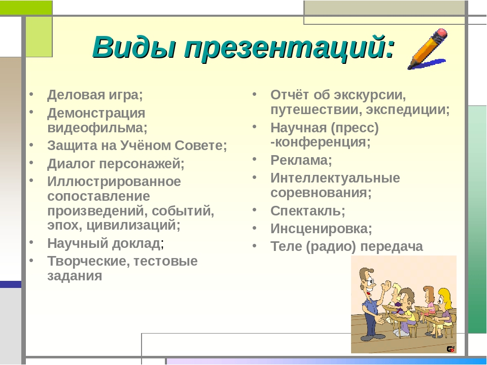 Виды презентаций: Деловая игра; Демонстрация видеофильма; Защита на Учёном Со...