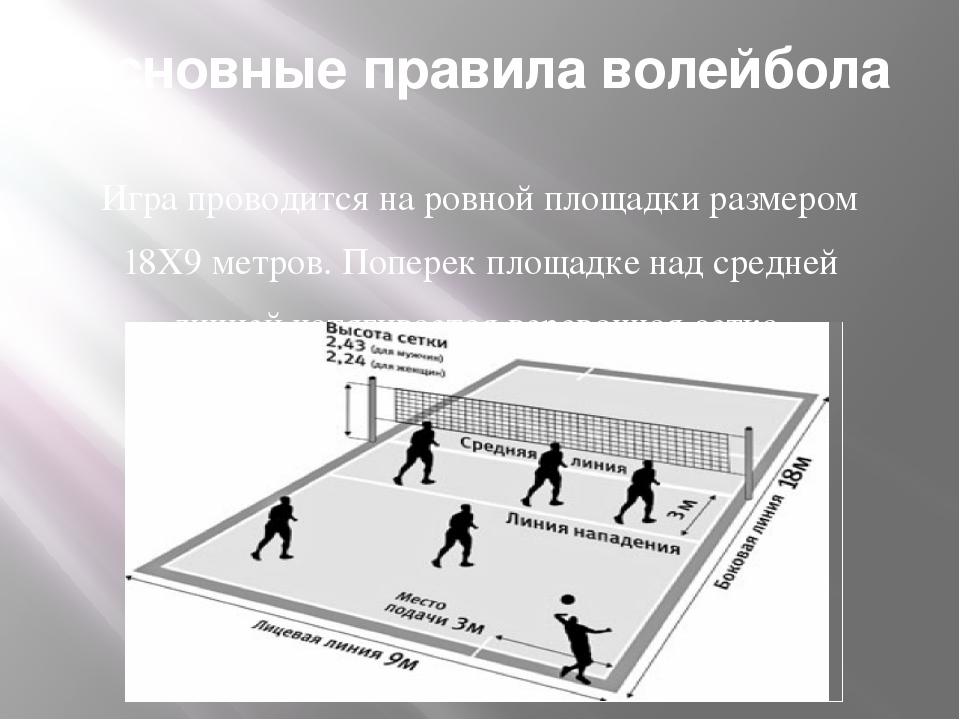 Основные правила волейбола Игра проводится на ровной площадки размером 18Х9 м...