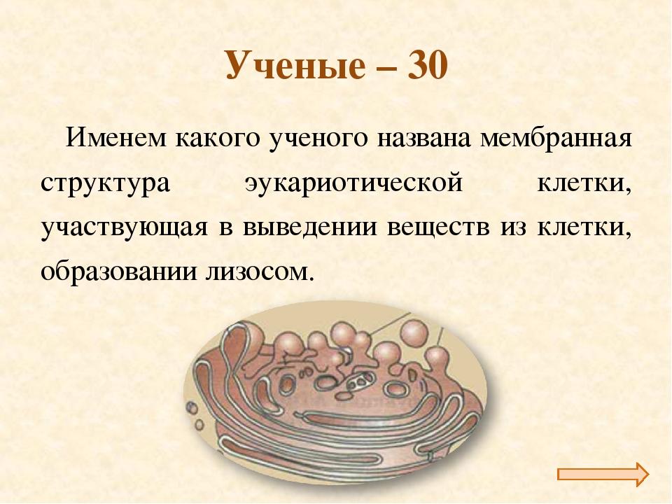 Ученые – 30 Именем какого ученого названа мембранная структура эукариотическо...