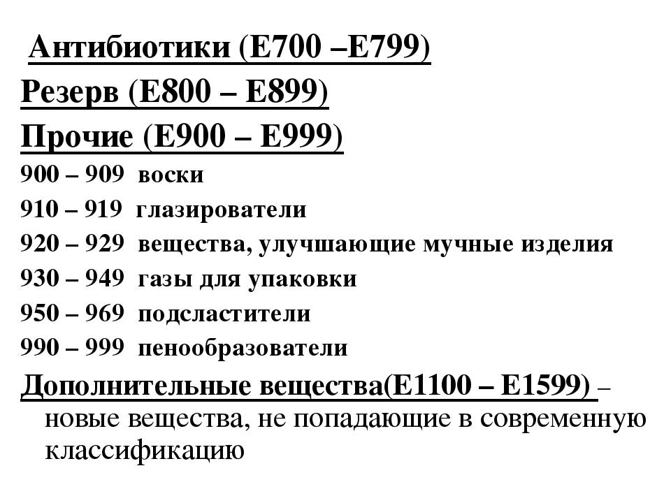 Антибиотики (Е700 –Е799) Резерв (Е800 – Е899) Прочие (Е900 – Е999) 900 – 909...