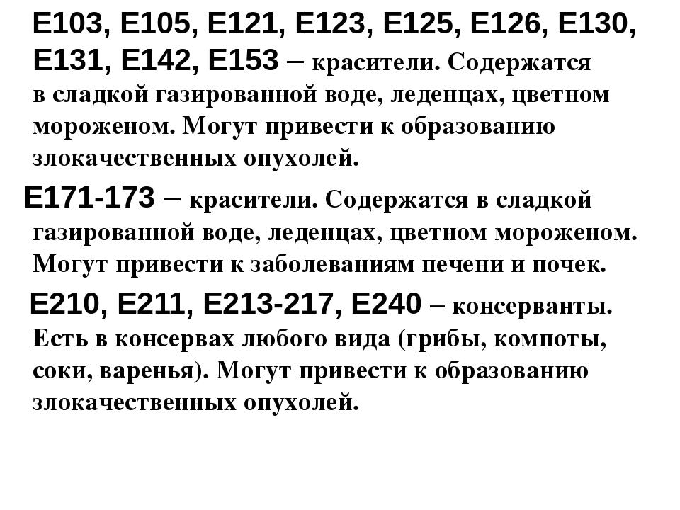 Е103, Е105, Е121, Е123, Е125, Е126, Е130, Е131, Е142, Е153– красители. Соде...