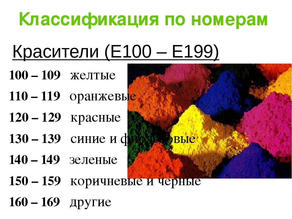 Классификация по номерам Красители (Е100 – Е199) 100 – 109 желтые 110 – 119 о...