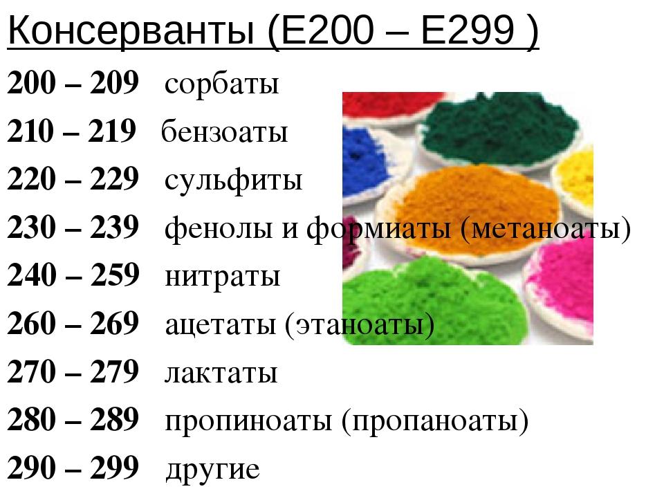 Консерванты (Е200 – Е299 ) 200 – 209 сорбаты 210 – 219 бензоаты 220 – 229 сул...