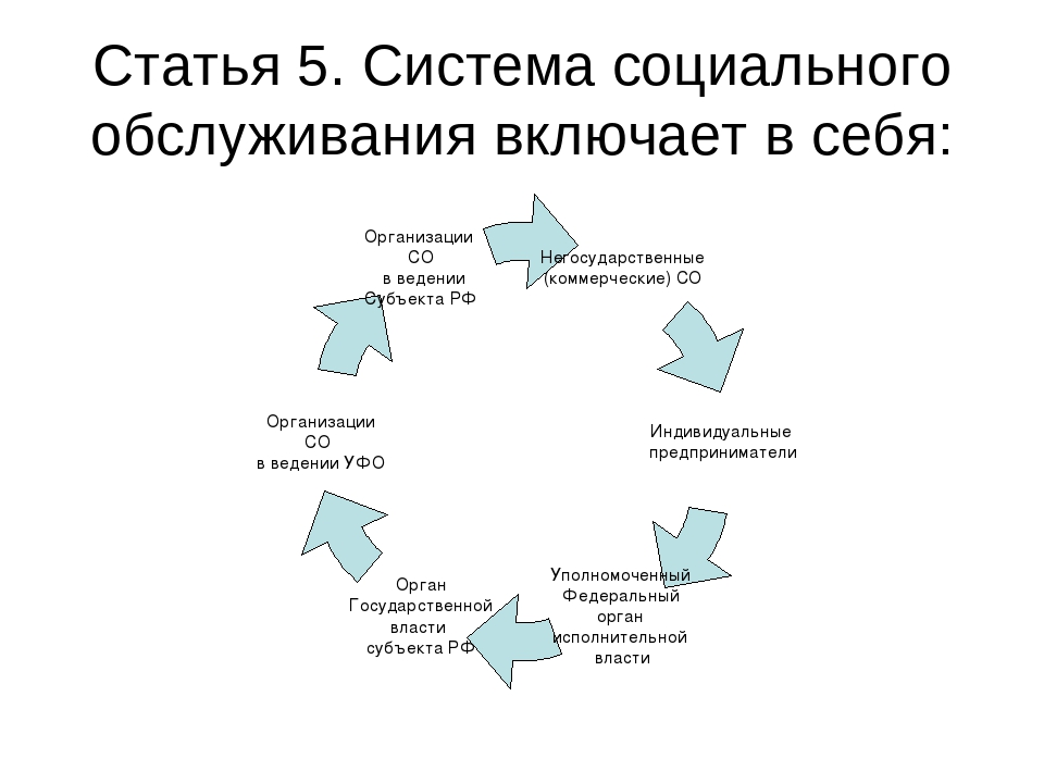 Статья 5. Система социального обслуживания включает в себя: