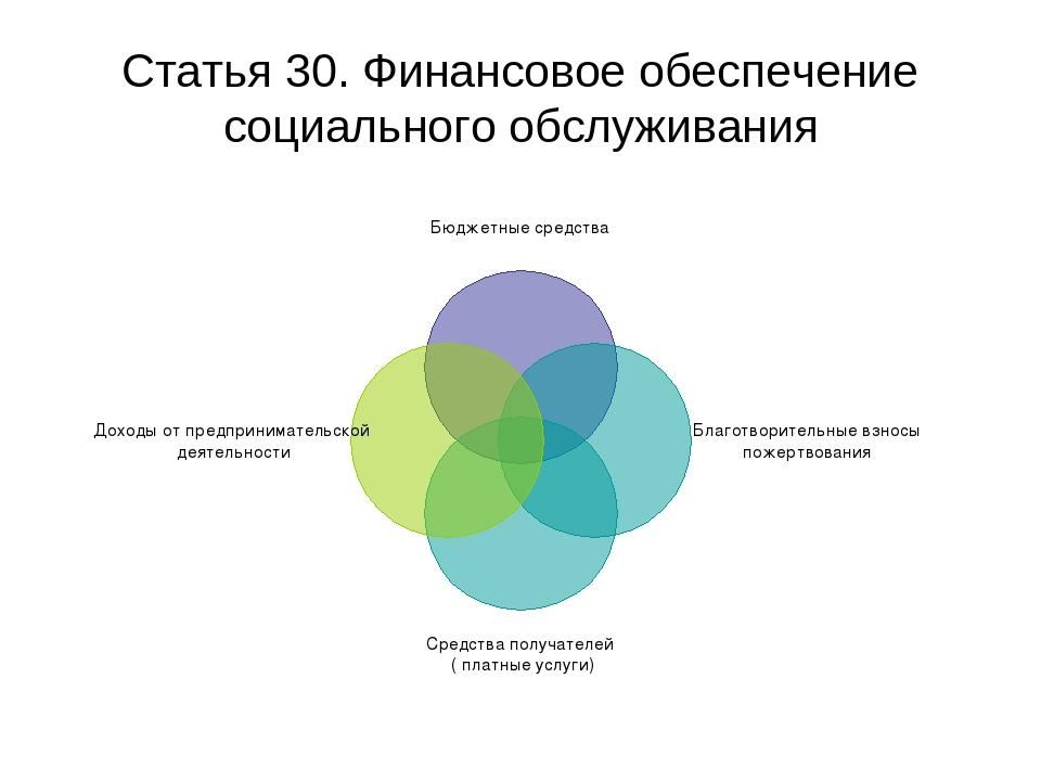 Статья 30. Финансовое обеспечение социального обслуживания