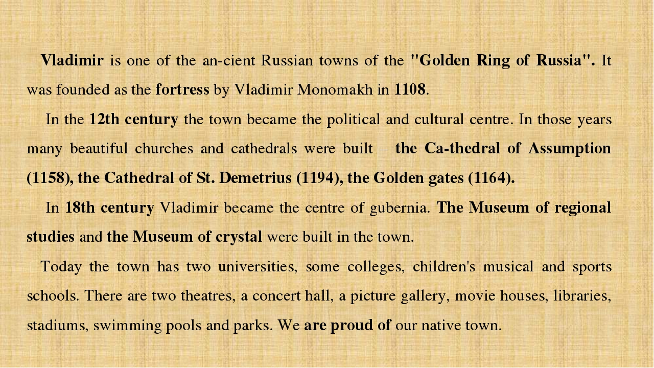 "Vladimir is one of the an­cient Russian towns of the ""Golden Ring of Russia""...."