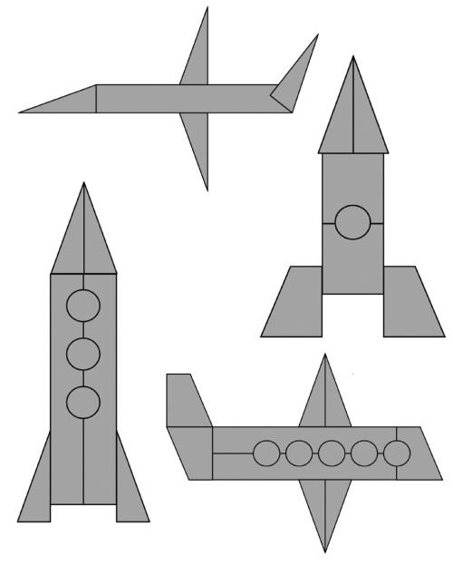 кургане картинки с контурным изображением ракеты и самолета из геометрических фигур каждым